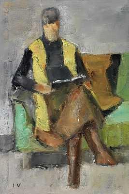 læsende dame siddende i sofa by jeppe vontillius
