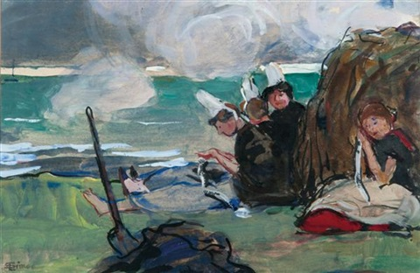 bretonnes en bord de plage by lucien simon