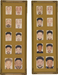 a pair of male portrait templates by anonymous-chinese (qing dynasty)