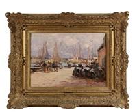harbor scene, concerneau by fernand marie eugène legout-gérard
