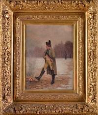 l'empereur napoléon se réchauffant près d'un feu de camp by charles louis kratke