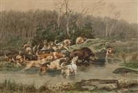 equipage servan-servant hallali de sanglier en forêt de fontainebleau by jules bertrand gélibert