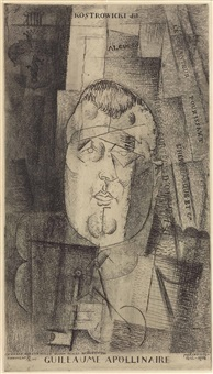 portrait of guillaume apollinaire by louis marcoussis