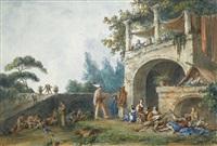 acteurs de rue et autres figures dans un paysage, calabre by claude louis châtelet