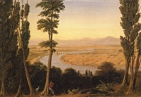 view of the tiber river and the roman campagna from monte mario by william linton
