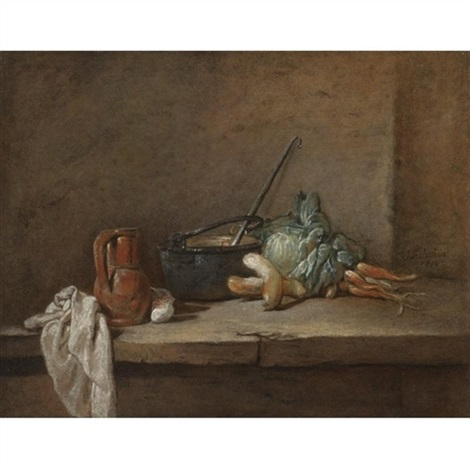 a still life with a napkin a pitcher a metallic urn turnips and other vegetables arranged on a stone ledge by jean baptiste siméon chardin