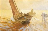 sailing at dawn by franz gustav hochmann