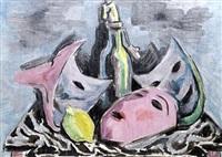 masken, flaschen und zitrone (+ skizze eines bauernmädchens, verso) by carl johann rabus
