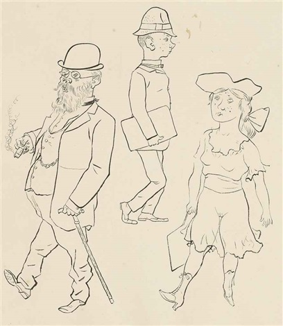 der pauker recto and stehender weiblicher akt verso by george grosz