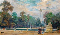 street life in the tuilerie gardens in paris by august torsleff