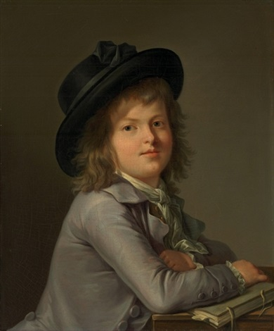 portrait of a boy in a black hat leaning on a portfolio by marie victoire lemoine