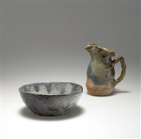 henkelvase (+ bowl; 2 works) by eugène lion