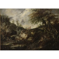figures in a wooded landscape by giovanni (giambattista) peruzzini