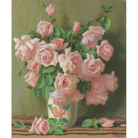 belle of portugal roses by joseph henry sharp