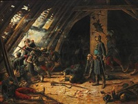 war scene (from the franco-prussian war c.1870?) by charles merlette