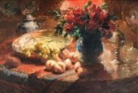 nature morte aux roses, pêches et raisins sur la table by frans mortelmans