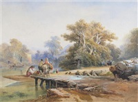 an italianate landscape with a couple boarding a boat from a jetty by richard principal leitch