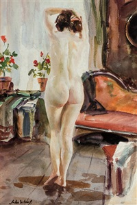 nude with geraniums by john whorf