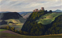 a thuringian landscape with a castle by walter leistikow