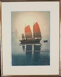 sailing boats morning (from the inland sea series) by hiroshi yoshida