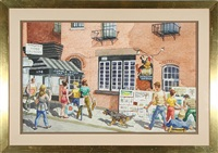 street scene (+ street scene, lrgr; pair) by harry t. fisk