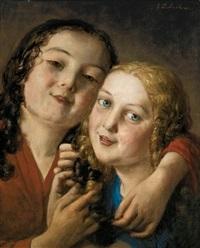 zwei mädchen mit verschlungenen haaren by johann baptist reiter