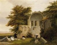 reisende bei den ruinen einer romanischen kirche by antoine xavier gabriel de gazeau