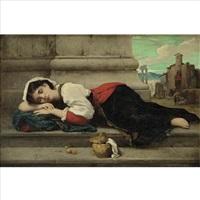 young italian girl asleep by françois lafon