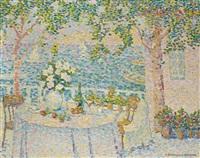 la table blanche, vue sur le lac by jeanne selmersheim-desgranges