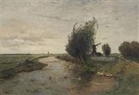 windmills in a polder landscape by paul joseph constantin gabriël