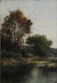 a view of the rhine river - kinderhaus by william henry hilliard