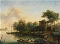 flusslandschaft mit ruinen und brücke; flusslandschaft mit booten und hütte am ufer by christian hilfgott brand