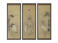 bomboo and crane/god of longevity/pine and crane (a set of three scrolls) by kano tsunenobu