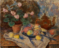 still life with cyclamen by kalman kemeny