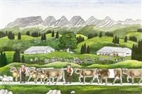 alpaufzug mit sennen und zahlreichen kühen by johannes georg blatter