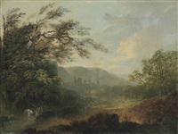 landscape with a traveler on horseback and ruins in the distance by julius caesar ibbetson