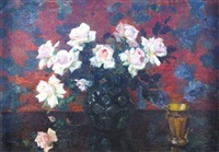 still life with roses and cup by louis van hoorde