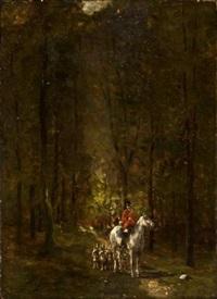 veneurs et meute en sous-bois by jean victor albert de gesne