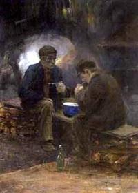 schaftende arbeiders by herman heijenbrock