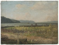 view of the hudson river with lighthouse, tappan zee area by bayard henry tyler