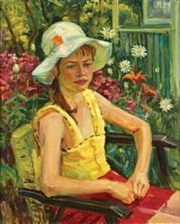 portrait de ma fille en chapeau by aleksandr averin