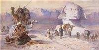 halte de la caravane aux abords du sphinx by joseph austin benwell
