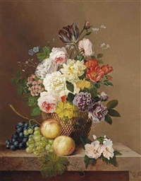 roses, a tulip, carnations, primula's, primroses, geraniums and various other flowers in a vase with grapes and peaches on a marble ledge by arnoldus bloemers