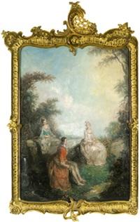 ein junger kavalier mit zwei damen in einem schlosspark (+ ein junger kavalier und zwei damen mit blumen; pair) by síren laessoe lange