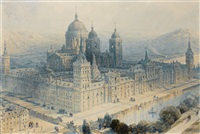 the palace of the escorial, near madrid, spain by david roberts