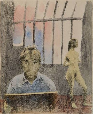 self portrait with model by raphael soyer