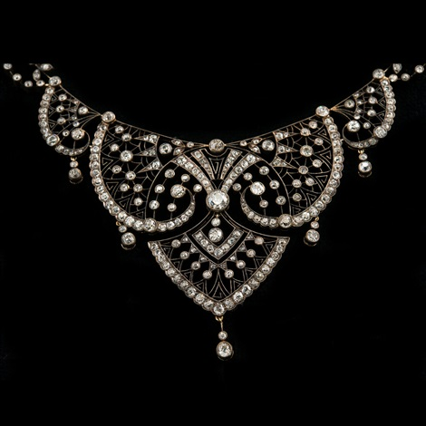 a necklace old cut diamonds c 850 ct h i vs i1 56 gold st petersburg 1908 17 length c 50 cm weight 46 g