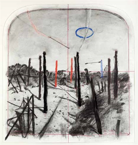 arched landscape (from a series of early tests for making stereoscopic drawings) by william kentridge