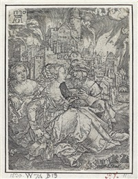 lot and his daughters * lot and his family leaving sodom * good samaritan * fifteen children at a round dance (4 works, various sizes and dates) by heinrich aldegrever