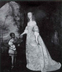 portrait of a lady, full length standing in a landscape being offered grapes by her black servant boy by henry stone